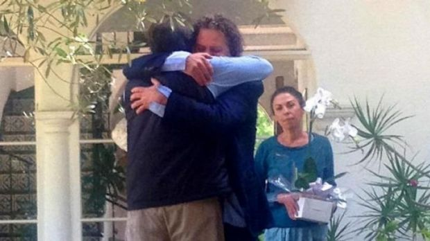 Shared grief: Richard Martinez, left, the father of Christopher Martinez who was killed by 22 year-old Elliot Rodger, ...