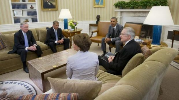 US President Barack Obama meets senior US lawmakers in the Oval Office.