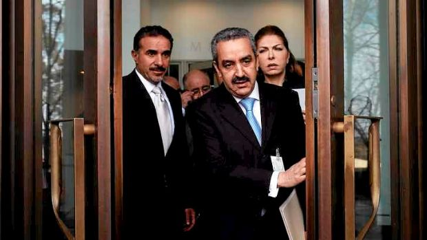 Jordanian ambassador Rima Ahmad Alaadeen (right) and Arab ambassadors emerge from a meeting with Foreign Minister Julie ...