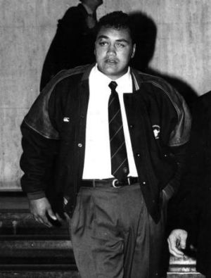 John Lomax outside the judiciary hearing that was to ban him from the 1994 grand final.