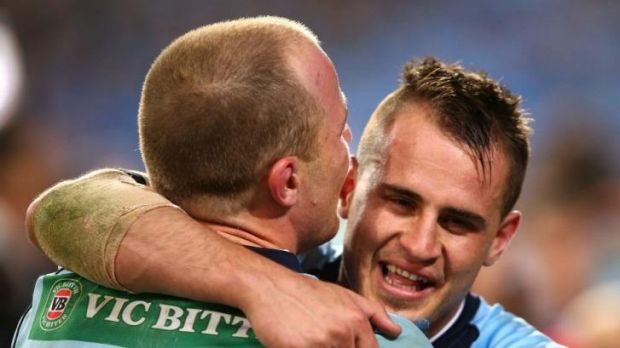 Winners: Josh Reynolds and Beau Scott enjoy the moment.