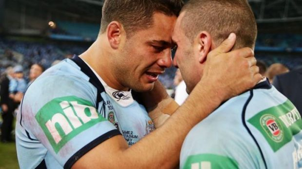 Emotional win: Jarryd Hayne and Robbie Farah feel the impact of a series win.