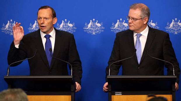 In control: Prime Minister Tony Abbott and Immigration Minister Scott Morrison celebrate the six-month anniversary of no ...