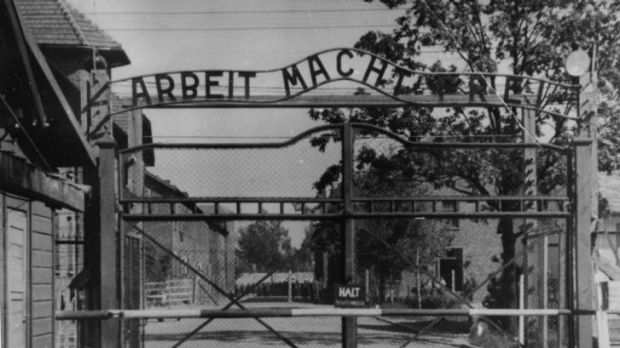 The main gate of the Nazi concentration camp Auschwitz I in Poland.