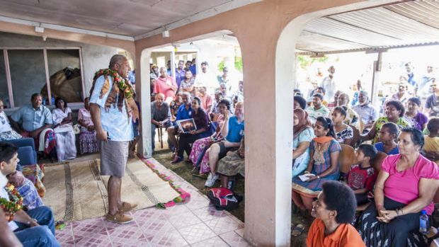 Meet and greet: Bainimarama courts both Indian and ethnic Fijians as he prepares for the September 17 national election.
