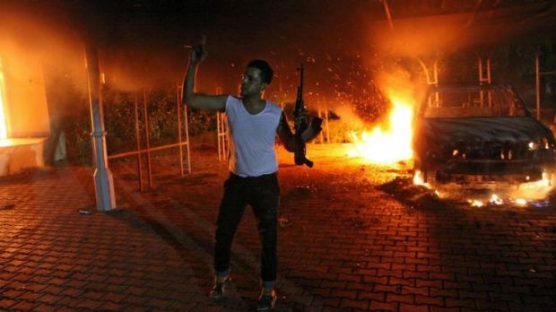 The US consulate compound in Benghazi under attack on September 11, 2012.