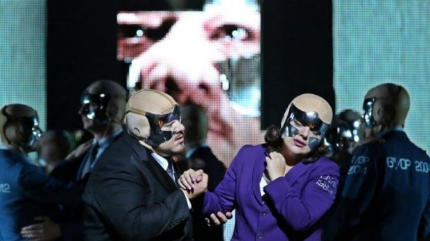 Tamara Iveri (right) in La Fura del Baus' <i>The Masked Ball</i>, which opened Opea Australia's Melbourne season in 2013.