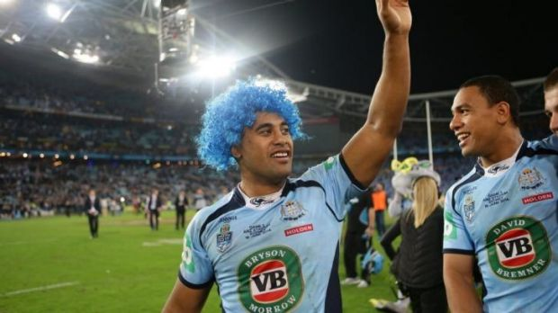 Michael Jennings acknowledges the fans after the Origin II win over Queensland.