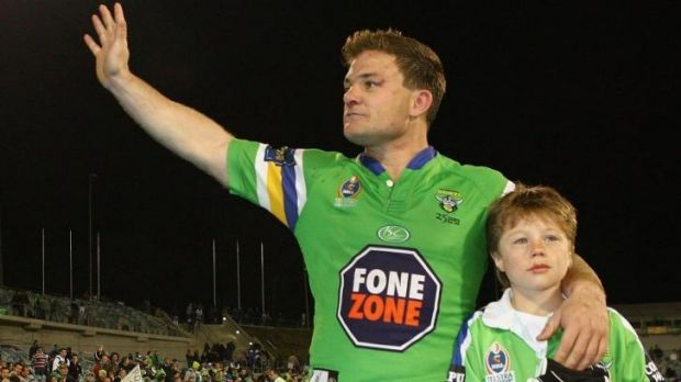 Simon Woolford with his son Zac in 2006. Zac will debut for Queanbeyan Blues on Sunday.