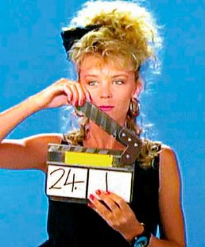 Kylie Minogue filming the music video for her first single Loco-motion, in 1987.
