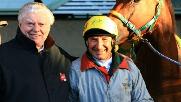 Trainer Bart Cummings with his long-time track rider Joe Agresta.