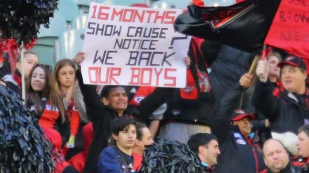 Essendon fans show support for their team during round 13.