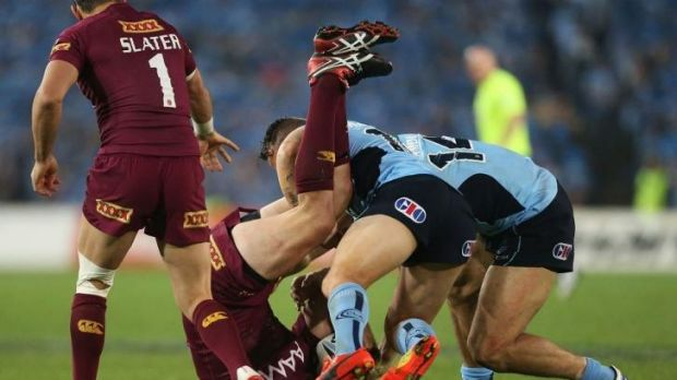Night of high drama: Watmough upends Myles on Wednesday night.