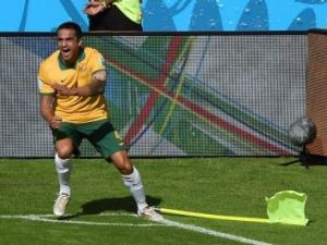 Socceroos star Tim Cahill after scoring against the Netherlands.