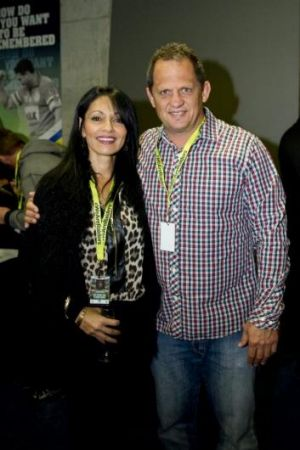 Larrikin: Steve Walters and Drina Stewart at the Raiders' 1994 grand-final reunion on Friday.
