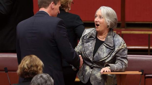 Senate farewell: Cory Bernardi congratulates fellow senator Sue Boyce after her speech.