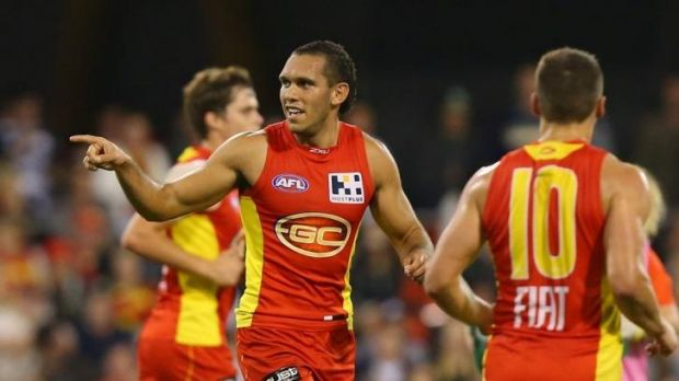 One in the bag: Harley Bennell gets one of his six goals.