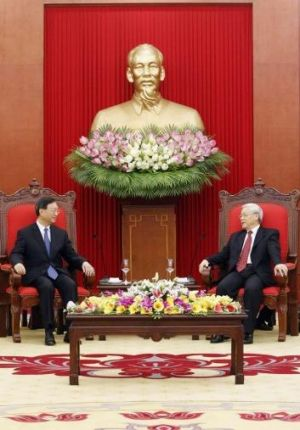 Chinese official Yang Jiechi (left) in talks with the Vietnamese Communist Party's General Secretary, Nguyen Phu Trong, ...