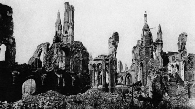 Remembrance clash: the ruins of Ypres after bombing in World War I. The Belgian town hosts a European Union summit on ...