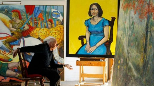 Salvatore Zofrea on front of his portrait of NSW Deputy Premier Gladys Berejiklian, which he is entering into the ...