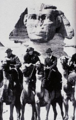 Winston Churchill, Gertrude Bell and T.E. Lawrence in Egypt in 1921.