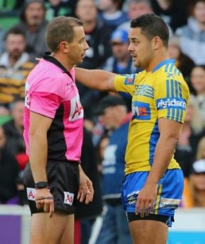 Parramatta captain Jarryd Hayne argues with Cummins after Chris Sandow is sin-binned.