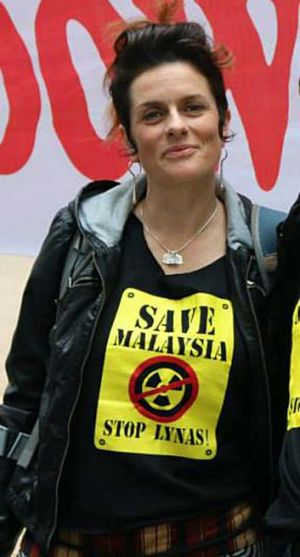 Environmental activist Natalie Lowrey, pictured at an earlier protest in Sydney, has been detained in Malaysia.