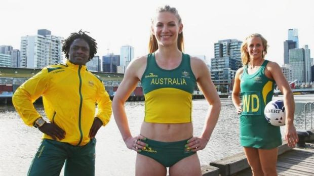 Francois Etoundi (weightlifting), Melissa Breen (athletics) and Renae Hallinan (netball) during the unveiling of the ...