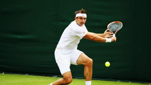 Marinko Matosevic winds up for a backhand return.