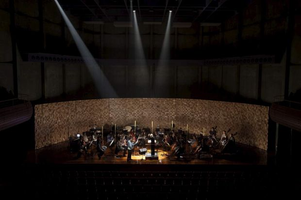 The Tasmanian Symphony Orchestra in a rehearsal for In Praise of Darkness, a highlight of Dark Mofo.