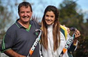 Canberra's Anna Flanagan and father Fred.