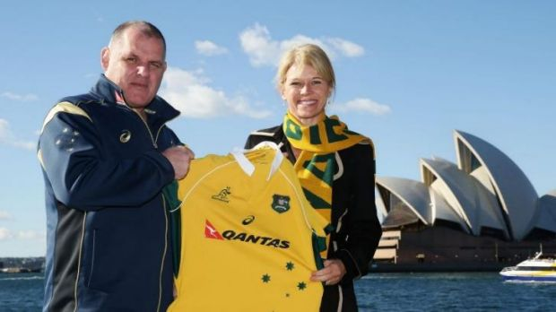 Wallabies coach Ewen McKenzie and Assistant Minister for Tourism Katrina Hodgkinson announce the sale of this year's ...