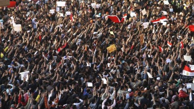 Egyptian demonstrators gather in Tahrir Square on January 31, 2011, the seventh day of protests against president Hosni ...