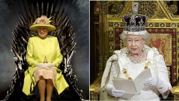 An image of Queen Elizabeth photoshopped onto the iron throne (left) and on her actual throne (right).