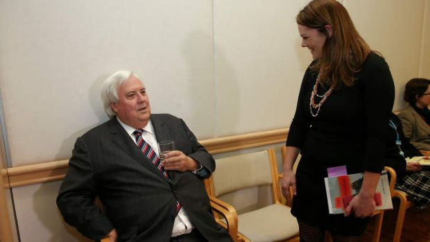 Palmer United Party leader Clive Palmer speaks with Greens Senator Sarah Hanson-Young. Mr Palmer's senators are set to ...