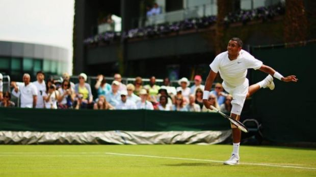 Kyrgios is looking to use his big serve against Richard Gasquet in the second round.