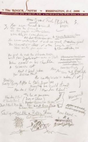 Worth $2 million ... a page from a working draft of Bob Dylan'?s <i>?Like a Rolling Stone</i>.