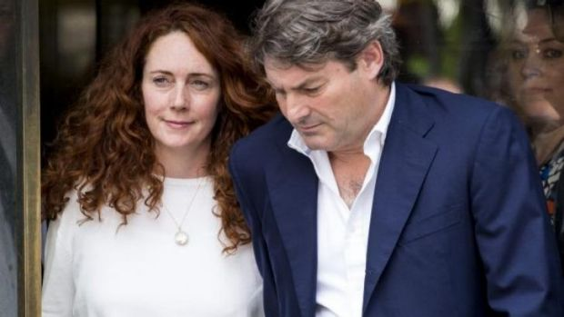 Rebekah Brooks leaving the Old Bailey with her husband, Charlie, on Tuesday.
