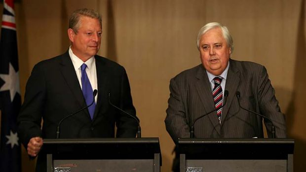 Shock and Gore: The former US vice-president joins Clive Palmer in Parliament.