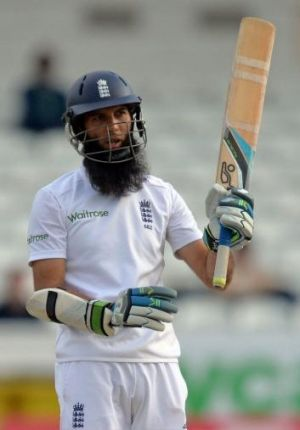 England's Moeen Ali celebrates reaching his century on the fifth day of the second Test.