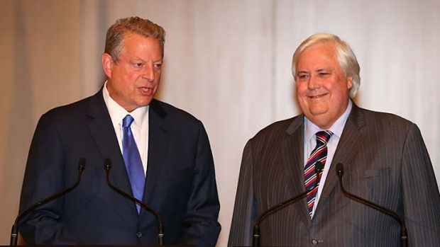Odd couple: Palmer United Party leader Clive Palmer and former US Vice President Al Gore during a joint press conference ...