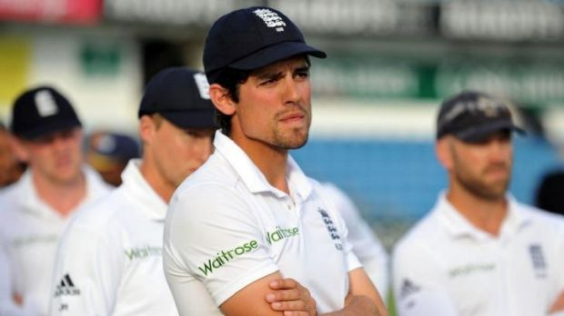 England captain Alastair Cook listens to the presentations after losing on the fifth day of the second Test.