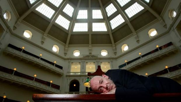 Morris Gleitzman in the reading room of the State Library.