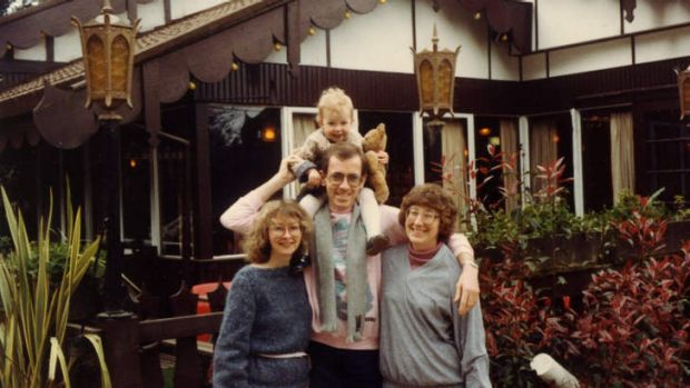 Smorgasbord: Gleitzman with his former wife, daughter and mother at the Cuckoo Restaurant in 1983.