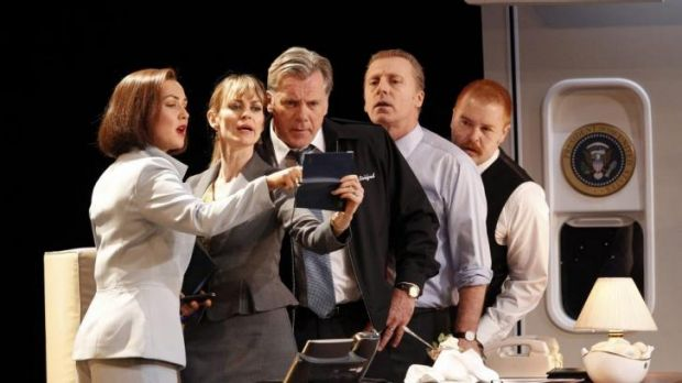 Jane Harber, Kat Stewart, Erik Thomson, Nicholas Bell and Brent Hill in Working Dog play <i>The Speechmaker</i>. Photo: ...