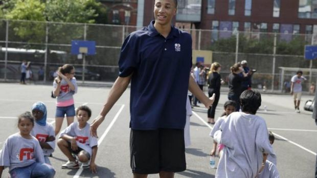 Dante Exum holds court during a basketball clinic in New York on Wednesday.