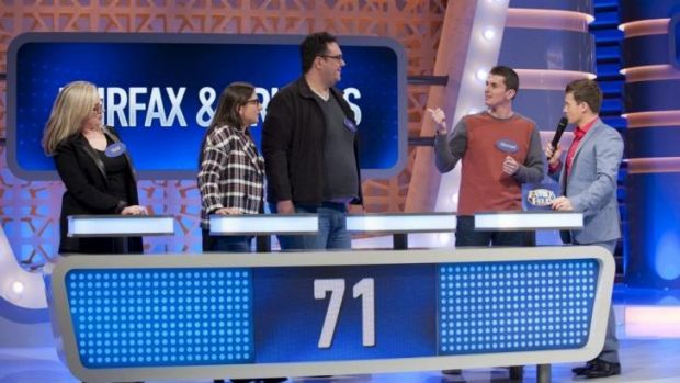 Fairfax reporter Michael Lallo (second from right) tests his knowledge in a trial run of the new <i>Family Feud</i>.