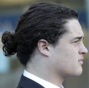 The offending 'do. Lucan Battison, who was ordered to cut his hair and refused.
