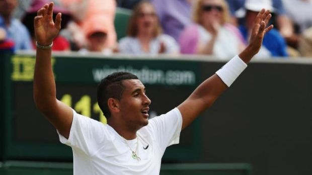 Nick Kyrgios celebrates his five-sets win against Richard Gasquet of France.