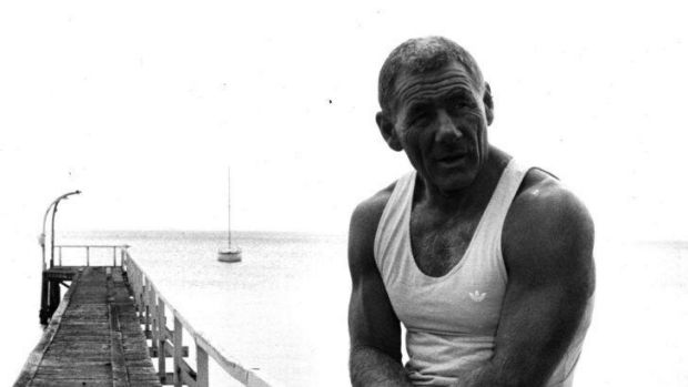 Tommy Hafey pictured on pier at the beach years ago.